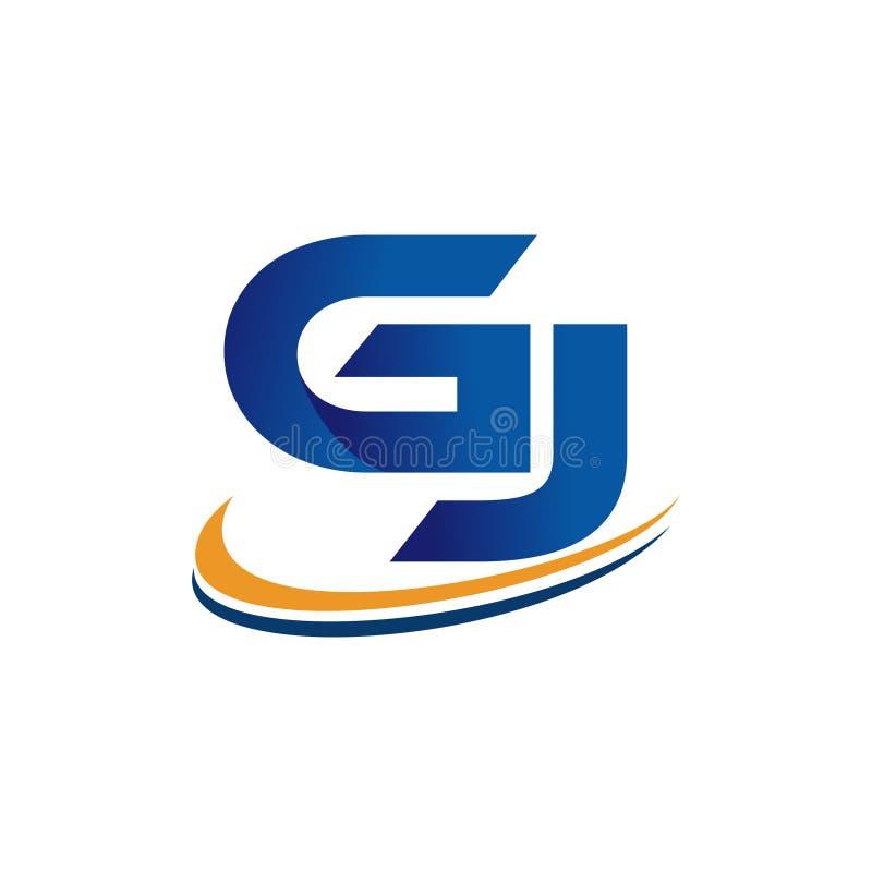 Gj inicial del diseño del logotipo stock de ilustración
