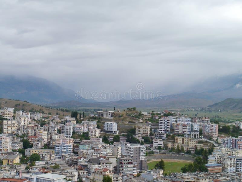 Gjirokaster, Albania. From the Hotel Kodra towards the mountains stock photo
