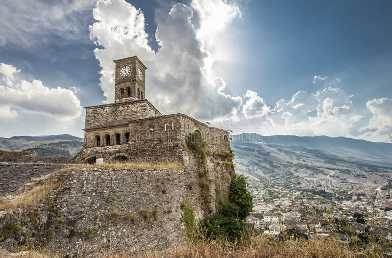 Gjirokastra城堡阿尔巴尼亚旅行技巧欧洲 图库摄影