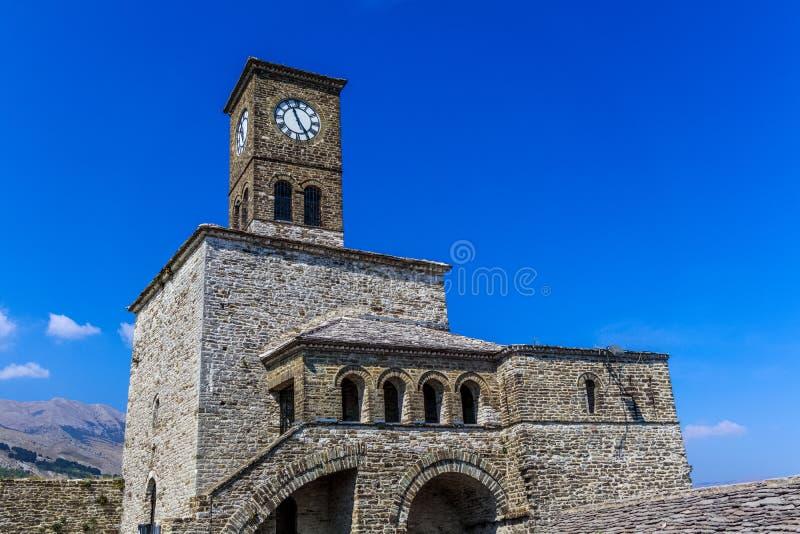 Gjirokastra,阿尔巴尼亚城堡的钟楼  库存照片