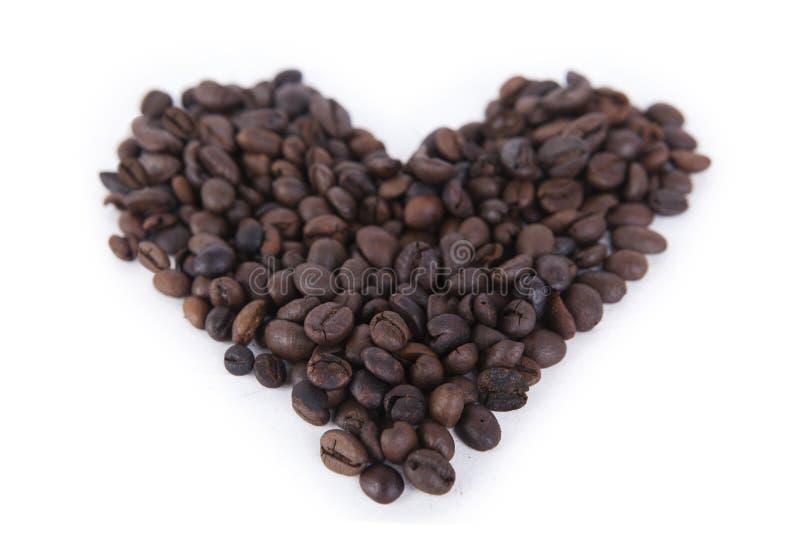 gjord bönakaffehjärta royaltyfri bild