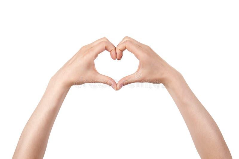 gjord härlig hjärta gömma i handflatan form två royaltyfri bild
