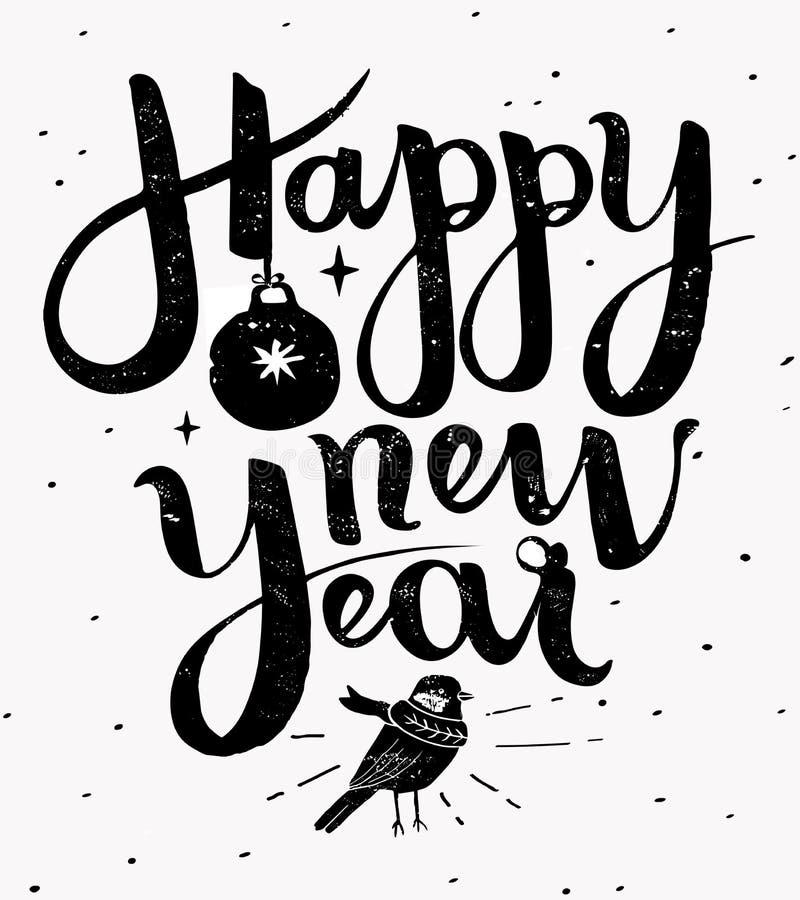 Gjord hand för lyckligt nytt år - märka illustrationen royaltyfria bilder