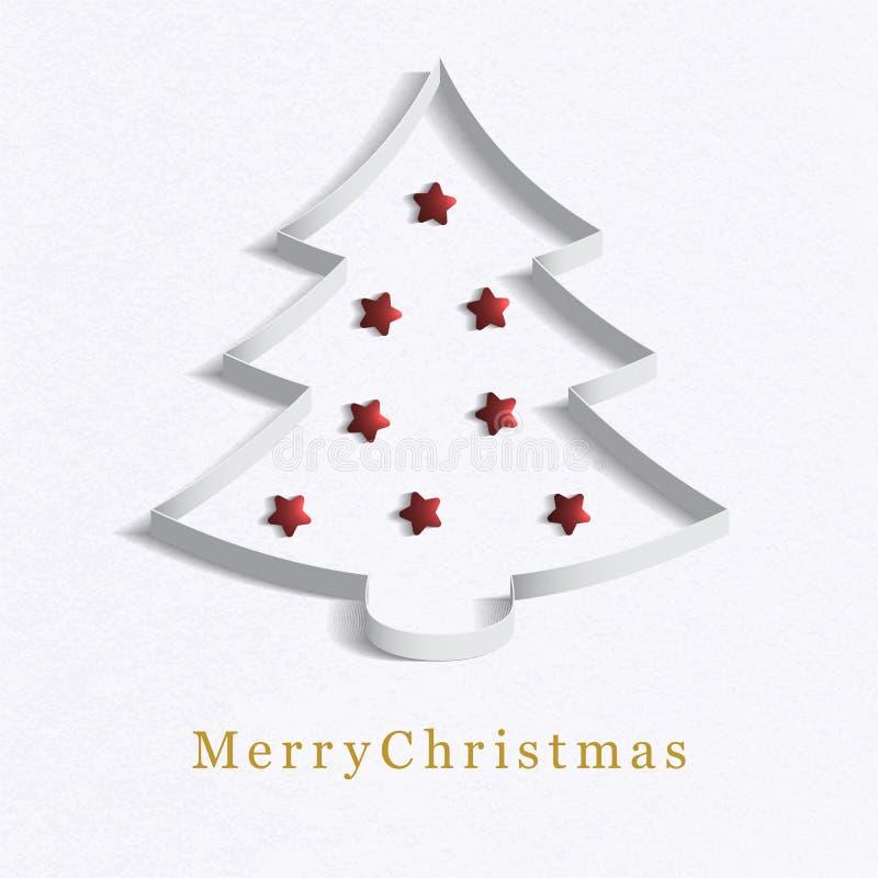 Gjord julgran?? av pappers- vit. vektor illustrationer