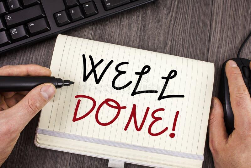 Gjord Motivational appell för ordhandstiltext brunn Affärsidé för bra Job Great Results Positive Evaluation arkivbild