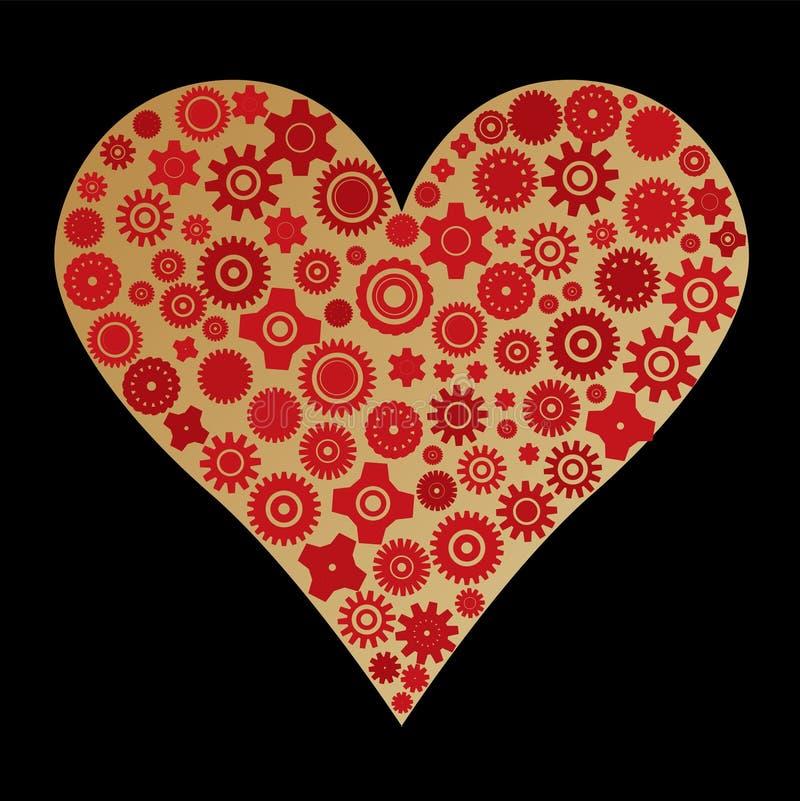 gjord olik hjärta för cogwheels royaltyfri illustrationer