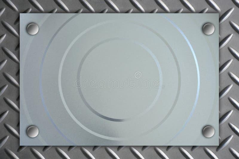 Gjord randig cirkel för metallplatta på metalltexturbakgrund royaltyfria bilder