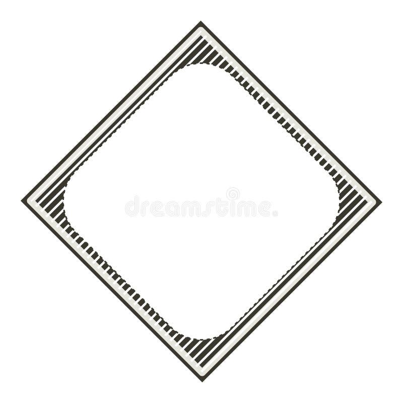 Gjord randig dekorativ ram för konturdiamant stock illustrationer
