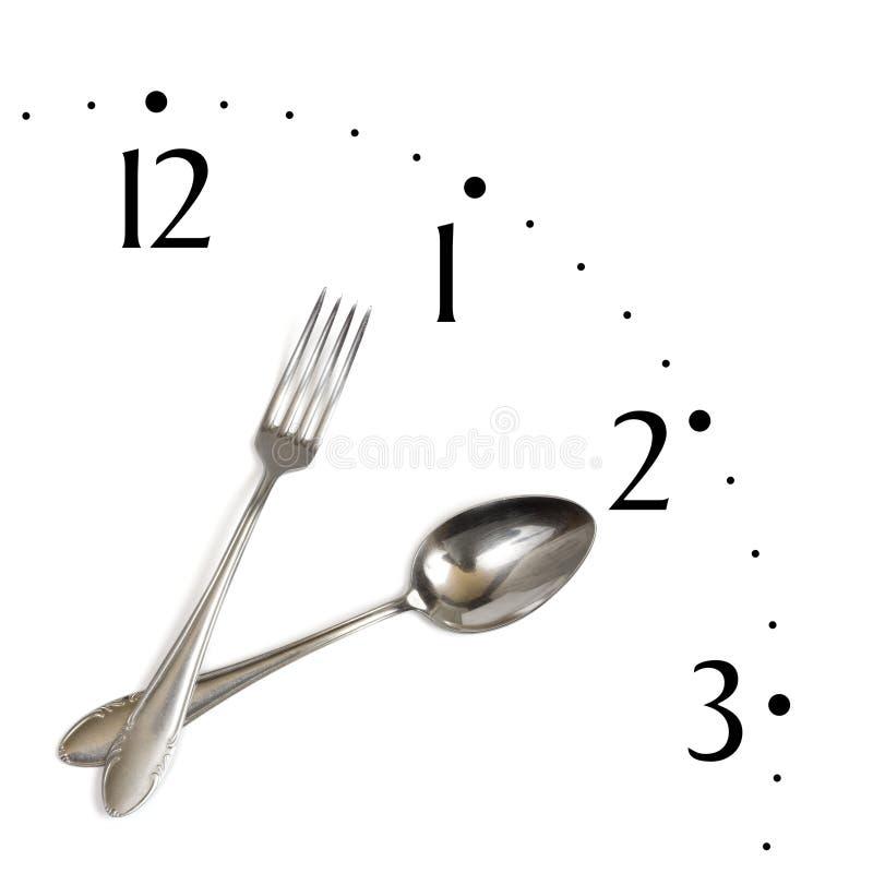 gjord sked för klocka gaffel arkivbild