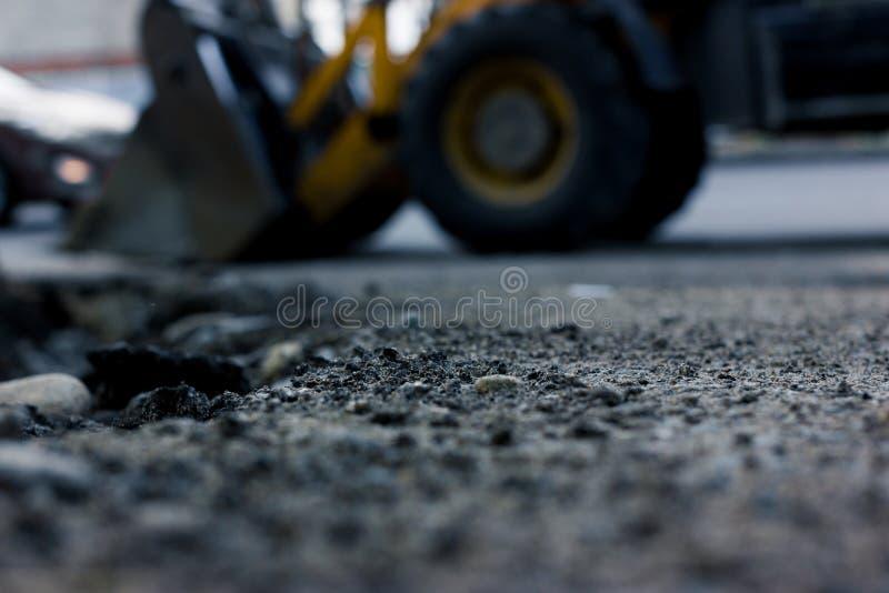 Gjord suddig bakgrund, reparationsvägar Byggande i Polen arkivfoto