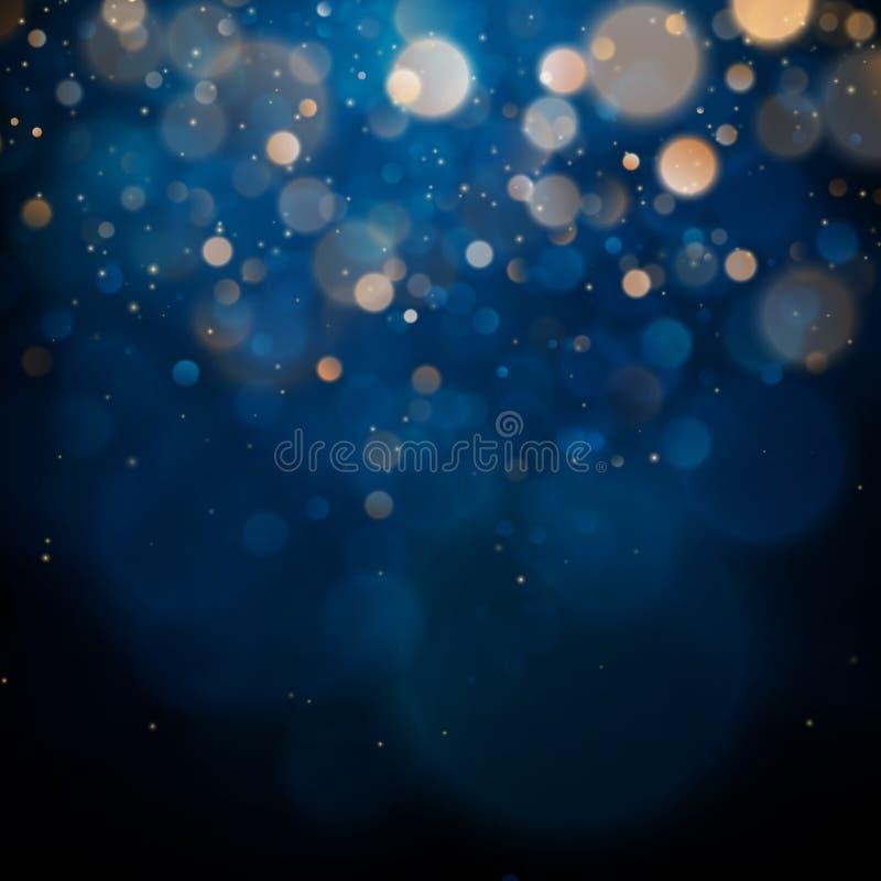 Gjord suddig bokeh tänder på mörkt - blå bakgrund Feriemall för jul och för nytt år Abstrakt begrepp blänker Defocused stock illustrationer