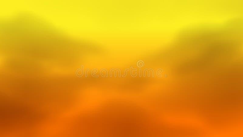 Gjord suddig orange himmel med mist för damm för luftföroreningrökmoln för bakgrund, problem i gul guld- miljö för atmosfärhimmel royaltyfri illustrationer