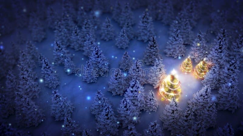 Gjorda ljusare julträd sörjer in trän stock illustrationer