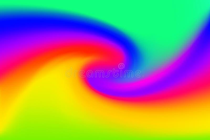 Gjorda suddig gröna blåa och rosa färger vrider färgrik effekt för vågen för bakgrund, illustrationlutning i virvel för konst för royaltyfri illustrationer