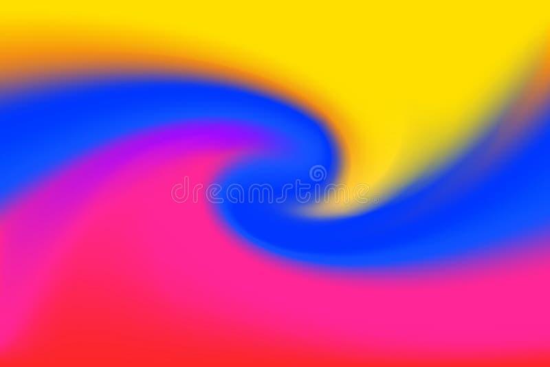 Gjorda suddig gula blåa och rosa färger vrider färgrik effekt för vågen för bakgrund, illustrationlutning i virvel för konst för  vektor illustrationer
