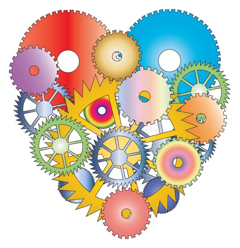 gjorde olik hjärta för cogwheels white vektor illustrationer