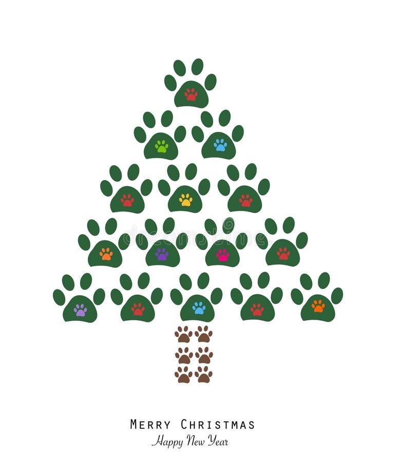Gjort av tafsa trycket som trädet för glad jul med färgrikt tafsar trycket Jul sörjer trädet Glad jul och lyckligt nytt år som hä royaltyfri illustrationer