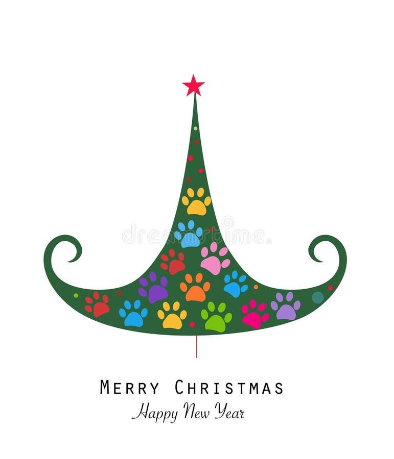 Gjort av tafsa trycket som trädet för glad jul med färgrikt tafsar trycket Jul sörjer trädet Glad jul och lyckligt nytt år som hä stock illustrationer