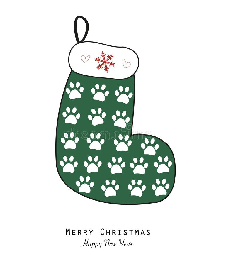 Gjort av tafsa tryckjul som sockan tafsar trycket kortjul som greeting lyckligt glatt nytt år royaltyfri illustrationer