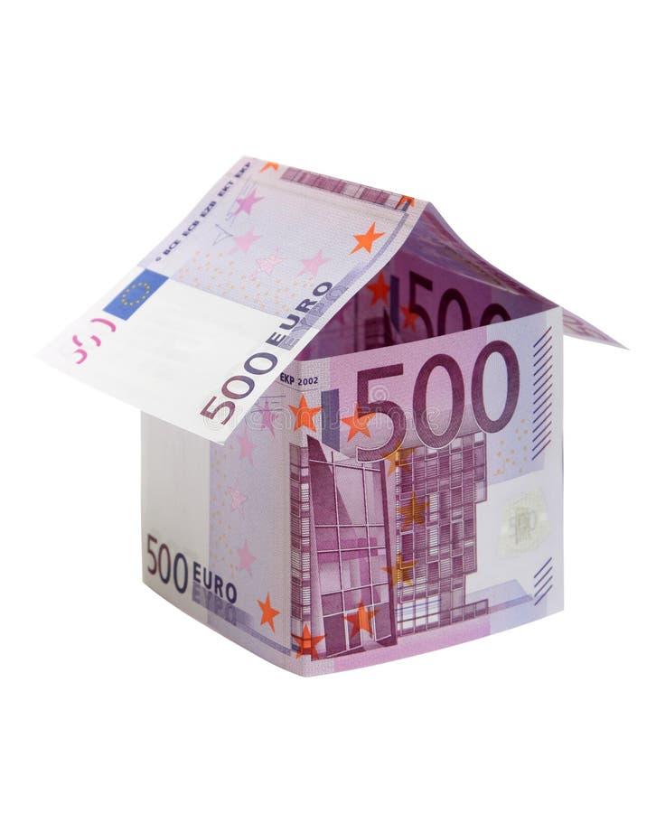 gjort eurohus för 500 sedlar royaltyfria foton