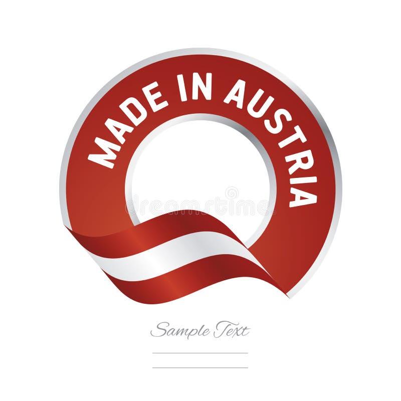 Gjort i baner för knapp för etikett för röd färg för Österrike flagga stock illustrationer