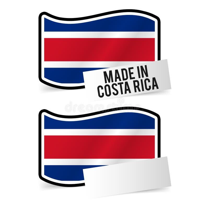 Gjort i Costa Rica Flag och vitt töm papper stock illustrationer