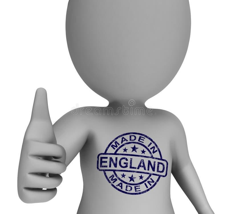 Gjort i den England stämpeln på man visar godkända engelska produkter royaltyfri illustrationer