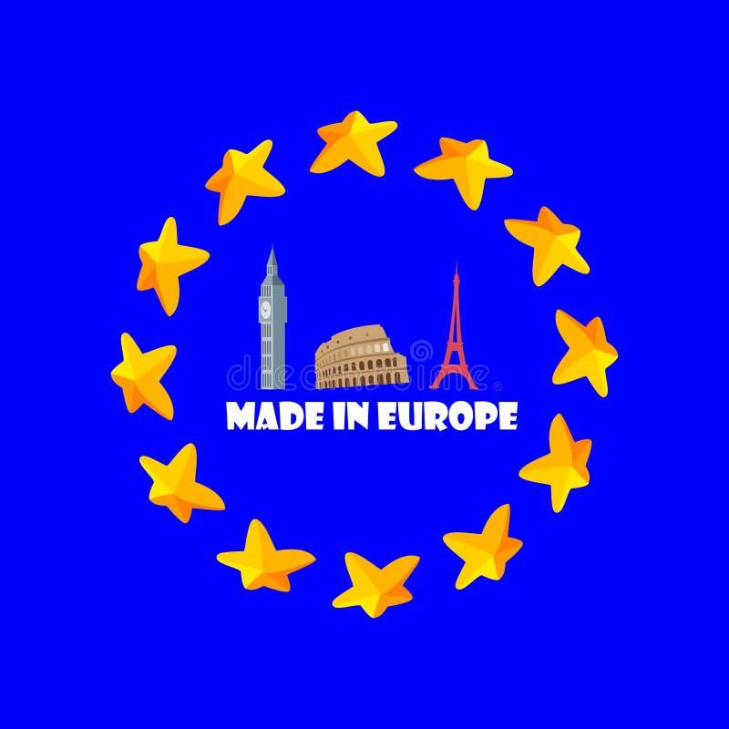 Gjort i den Europa illustrationen, baner, klistermärke, emblem arkivfoto