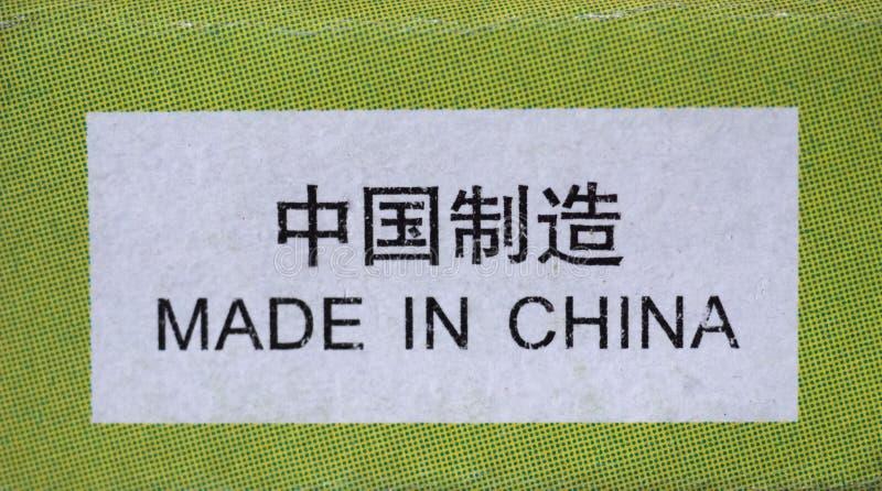 Gjort i den Kina etiketten royaltyfri foto