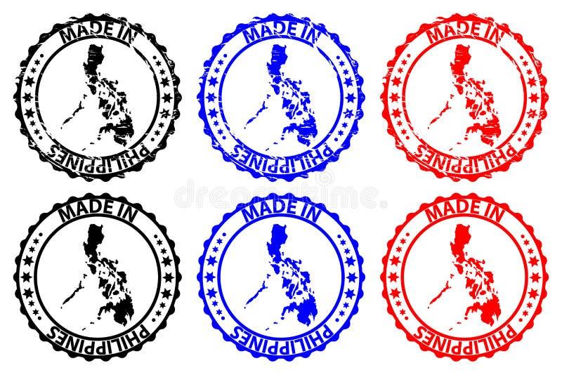 Gjort i den rubber stämpeln för Filippinerna vektor illustrationer