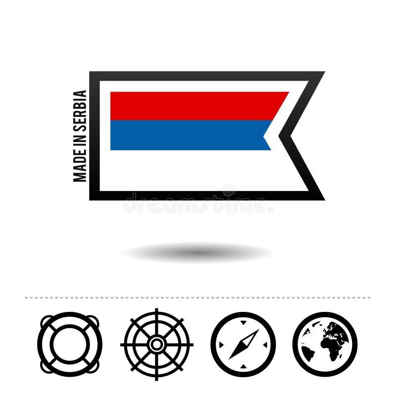 Gjort i den Serbien flaggan med loppsymboler Vektor Eps10 vektor illustrationer