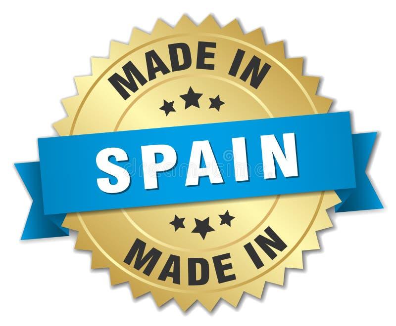 gjort i det Spanien emblemet royaltyfri illustrationer