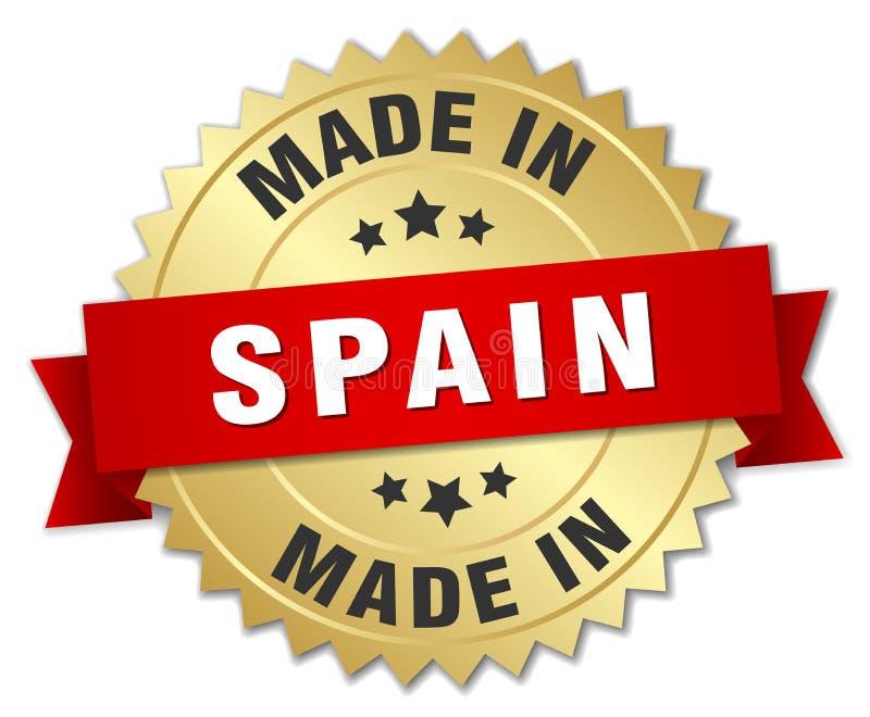 gjort i det Spanien emblemet stock illustrationer
