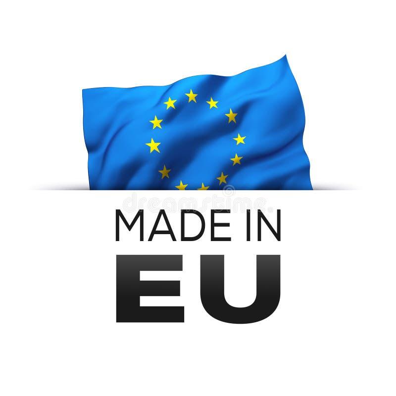 Gjort i EU Europa - etikett royaltyfri illustrationer