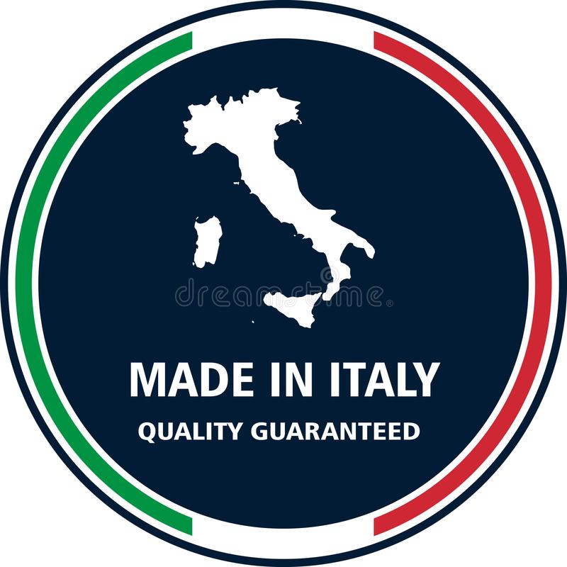 Gjort i Italien den kvalitets- stämpeln också vektor för coreldrawillustration stock illustrationer