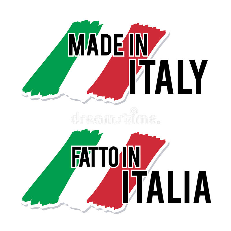 Gjort i Italien med den kvalitets- etiketten för italiensk flagga på den vita bakgrunden royaltyfri illustrationer