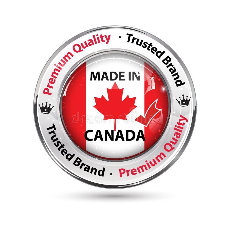 Gjort i Kanada, högvärdig kvalitets- elegant knapp/etikett stock illustrationer