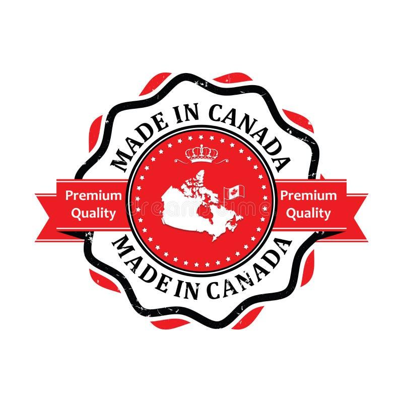 Gjort i Kanada, högvärdig kvalitets- klistermärke för tryck royaltyfri illustrationer