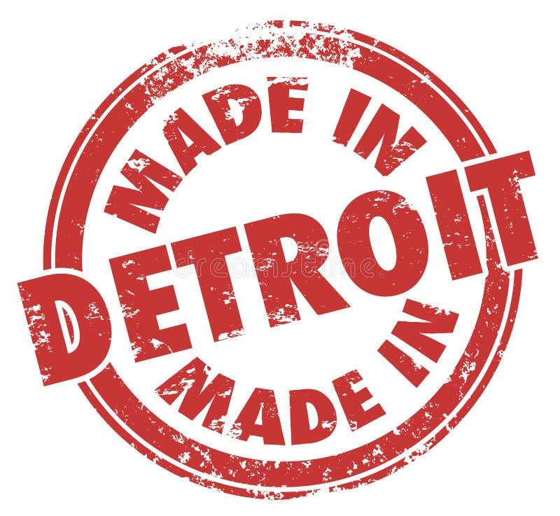 Gjort i logo för emblem för emblem för Grunge för stämpel för färgpulver för Detroit ord röd stock illustrationer