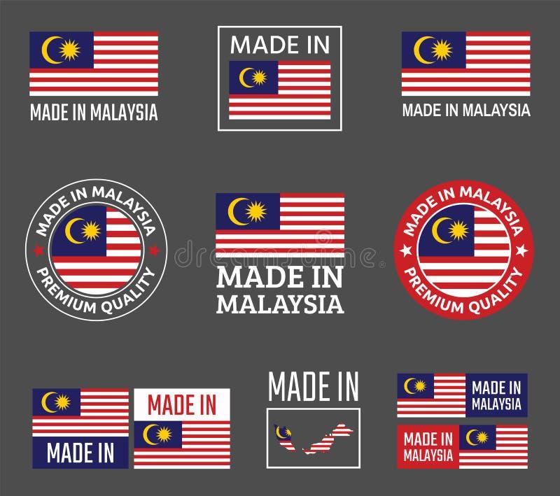 Gjort i Malaysia etikettuppsättning, produktemblem av Malaysia vektor illustrationer