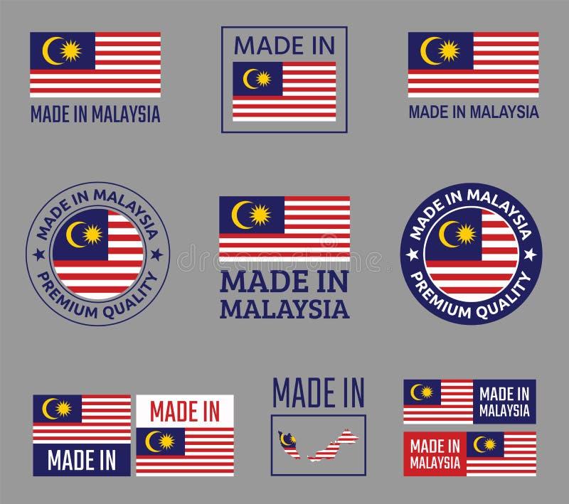 Gjort i Malaysia symbolsuppsättning, produktetiketter av Malaysia royaltyfri illustrationer