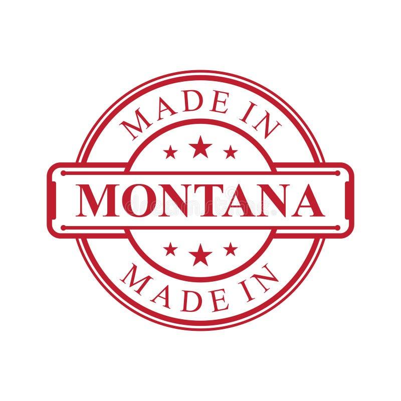 Gjort i Montana etikettsymbol med emblemet för röd färg på den vita bakgrunden stock illustrationer