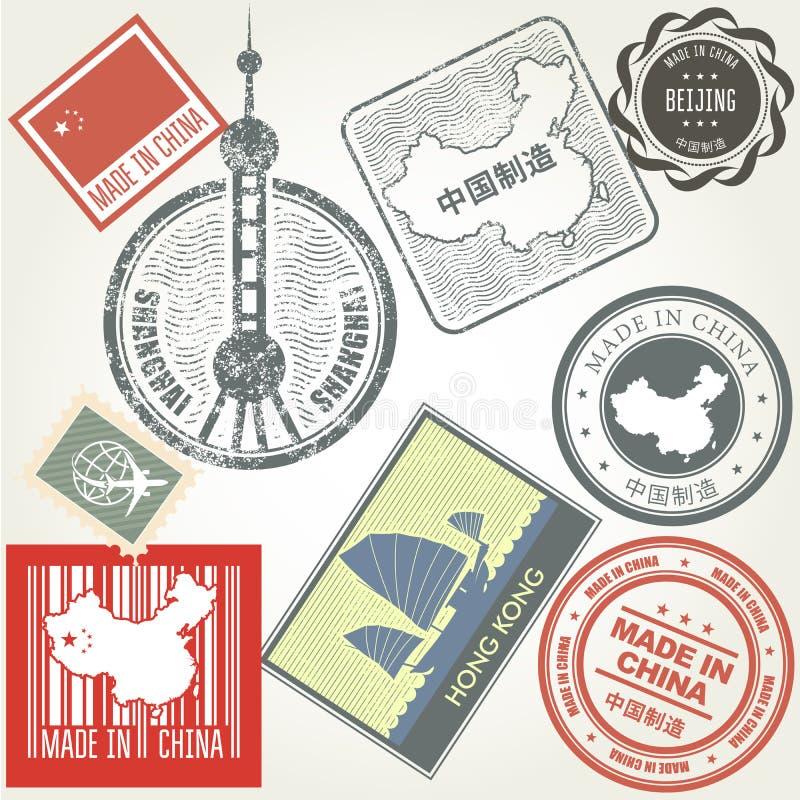 Gjort i rubber stämplar för Kina grunge vektor illustrationer