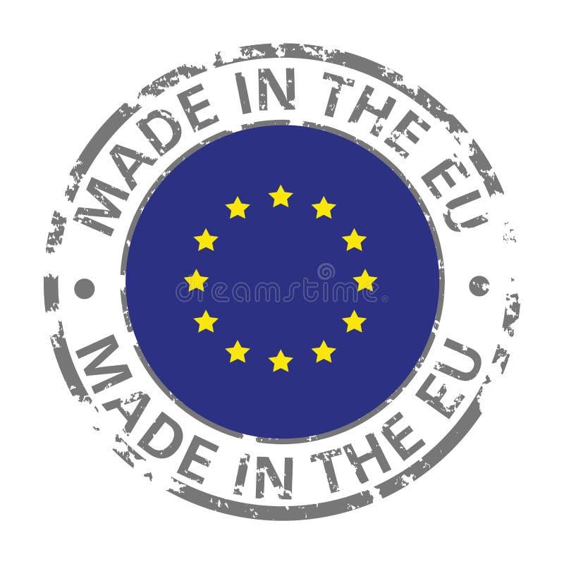 Gjort i symbol för grunge för flagga för europeisk union stock illustrationer