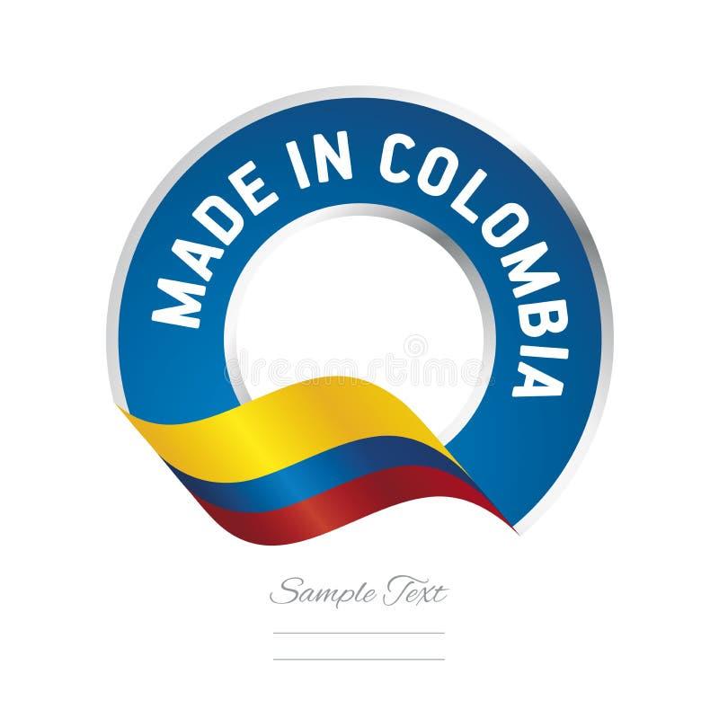 Gjort i symbol för logo för etikett för färg för Colombia flaggablått stock illustrationer