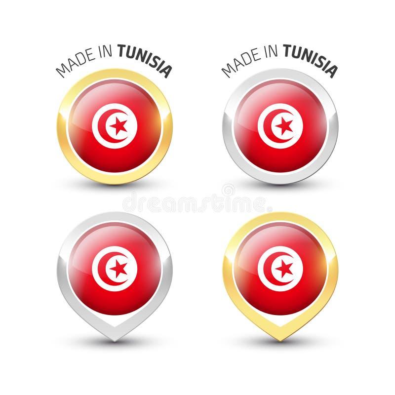 Gjort i Tunisien - runda etiketter med flaggor stock illustrationer