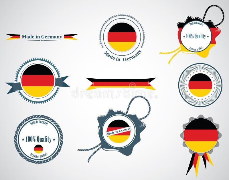 Gjort i Tyskland - skyddsremsor, emblem stock illustrationer