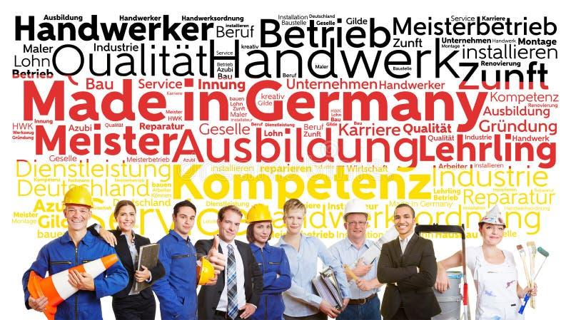 Gjort i Tysklandetikettsmoln arkivfoton