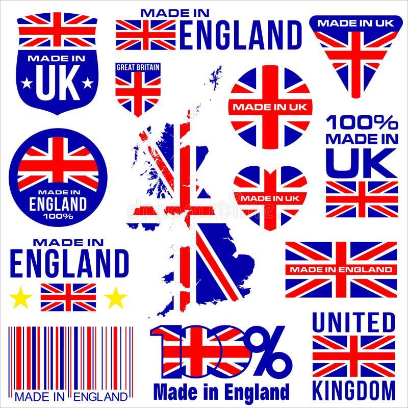 Gjort i UK ENGLAND vektor illustrationer