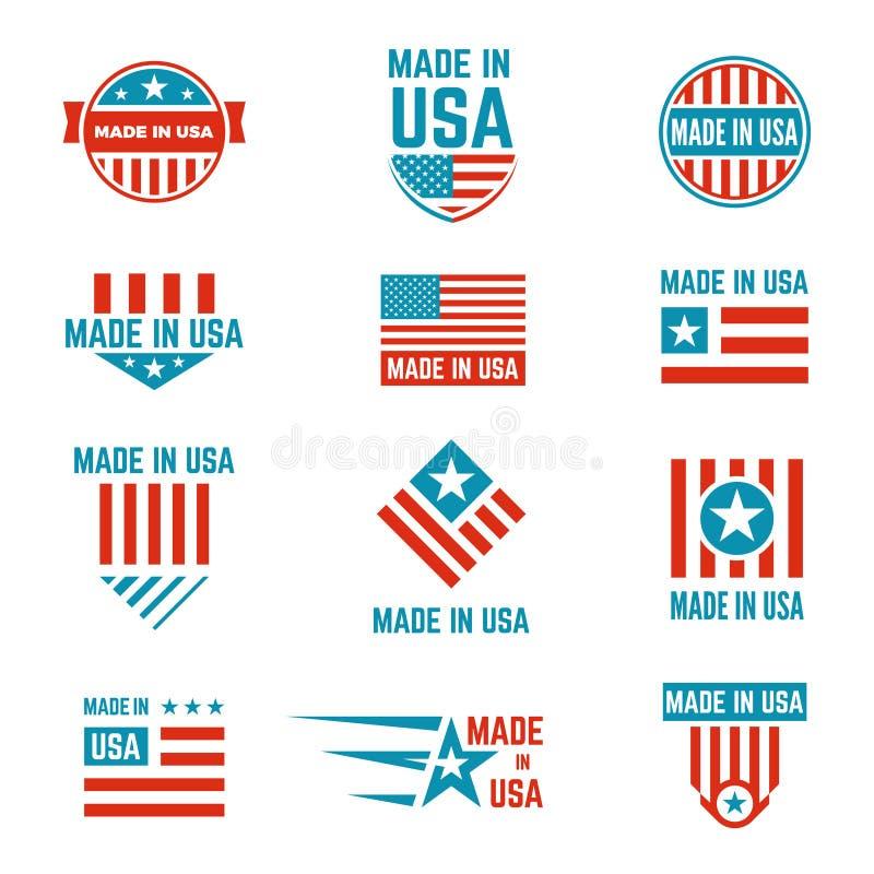 Gjort i uppsättning för USA flaggaemblem royaltyfri illustrationer